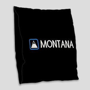 Montana Rocky Mountains Burlap Throw Pillow