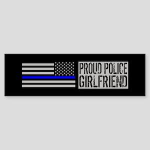 Police: Proud Girlfriend (Black F Sticker (Bumper)