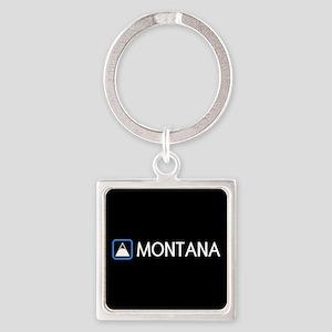 Montana Rocky Mountains Square Keychain