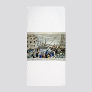 currier ives 19th century illustration Beach Towel