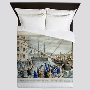 currier ives 19th century illustration Queen Duvet