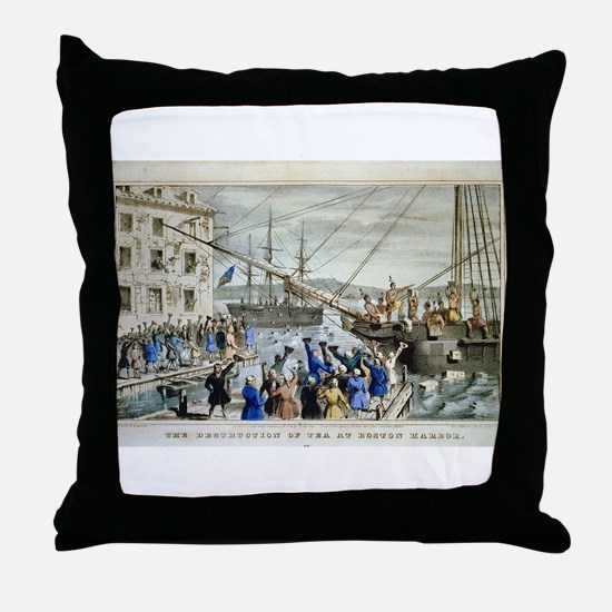currier ives 19th century illustration Throw Pillo
