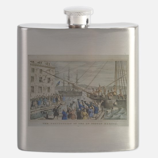 currier ives 19th century illustration Flask