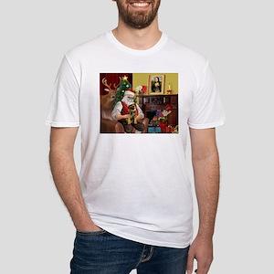Santa's Border Terrier Fitted T-Shirt