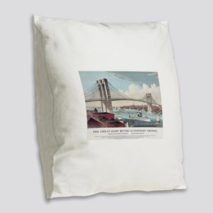 brooklyn bridge Burlap Throw Pillow