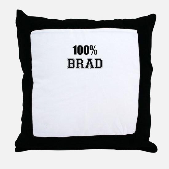 100% BRAD Throw Pillow