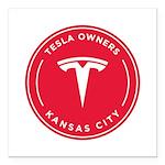 Tesla Owners Club KC Square Car Magnet 3