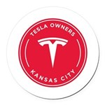Tesla Owners Club KC Round Car Magnet