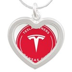 Tesla Owners Club KC Silver Heart Necklace