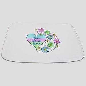 Live Laugh Love Flowing Flowers Bathmat