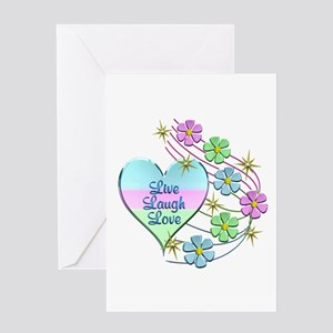 Live Laugh Love Flowing Flowers Greeting Cards