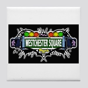 westchester square (Black) Tile Coaster