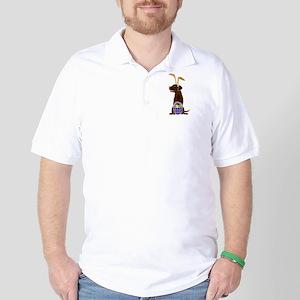 Chocolate Labrador Easter Golf Shirt