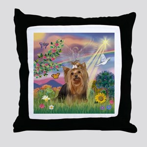 Cloud Angel & Yorkie #7 Throw Pillow