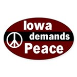 Iowa Demands Peace Oval Car Sticker