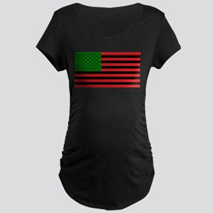 African American Flag - Red Blac Maternity T-Shirt