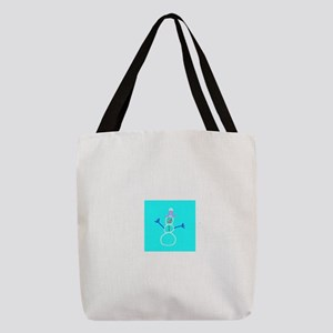 Turquoise Blue Snowman 4Ann Polyester Tote Bag