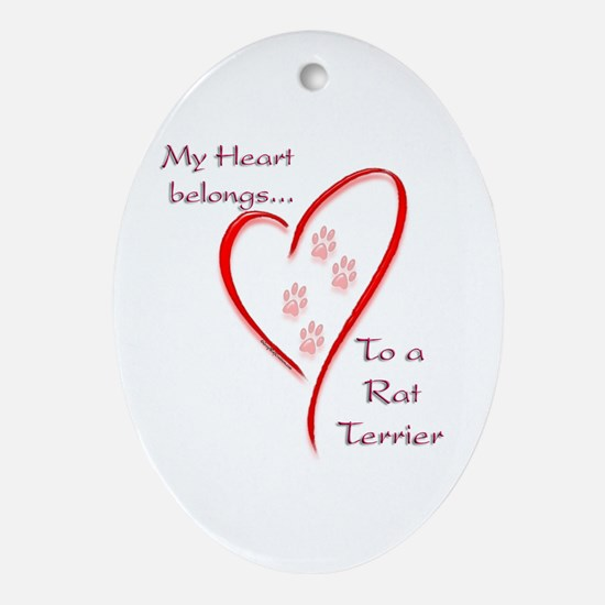 Rat HeartBelongs Oval Ornament