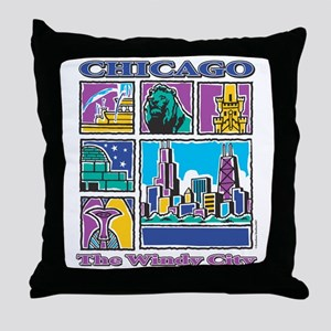 Chicago Puzzle Throw Pillow