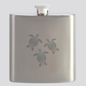 Silver Sea Turtles Flask