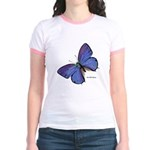 Blue Butterfly (Front) Jr. Ringer T-shirt