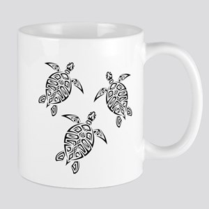 Black Tribal Turtles Mugs