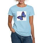 Blue Butterfly (Front) Women's Pink T-Shirt