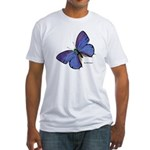 Blue Butterfly (Front) Fitted T-Shirt