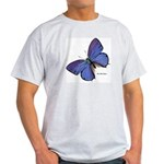 Blue Butterfly (Front) Ash Grey T-Shirt