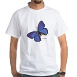 Blue Butterfly (Front) White T-Shirt