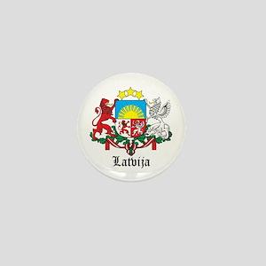 Latvia Arms with Name Mini Button