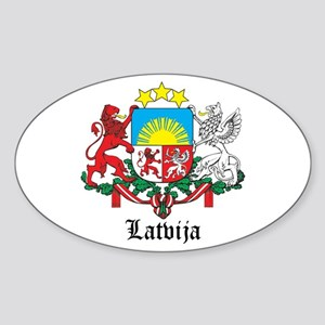 Latvia Arms with Name Oval Sticker