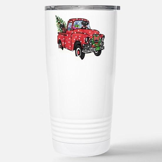 Black Lab Christmas Red Truck Mugs