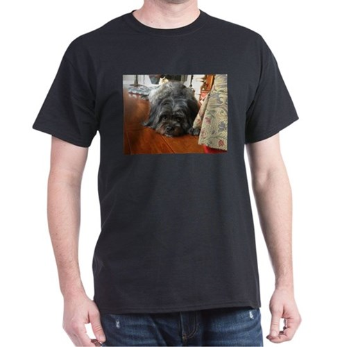 Kona wide eyed dog on wooden floor T-Shirt