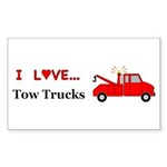 I Love Tow Trucks Sticker (Rectangle 10 pk)