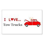 I Love Tow Trucks Sticker (Rectangle 10 pk)
