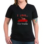 I Love Tow Trucks Women's V-Neck Dark T-Shirt