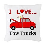I Love Tow Trucks Woven Throw Pillow