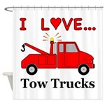 I Love Tow Trucks Shower Curtain