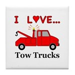 I Love Tow Trucks Tile Coaster