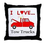 I Love Tow Trucks Throw Pillow