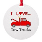 I Love Tow Trucks Round Ornament
