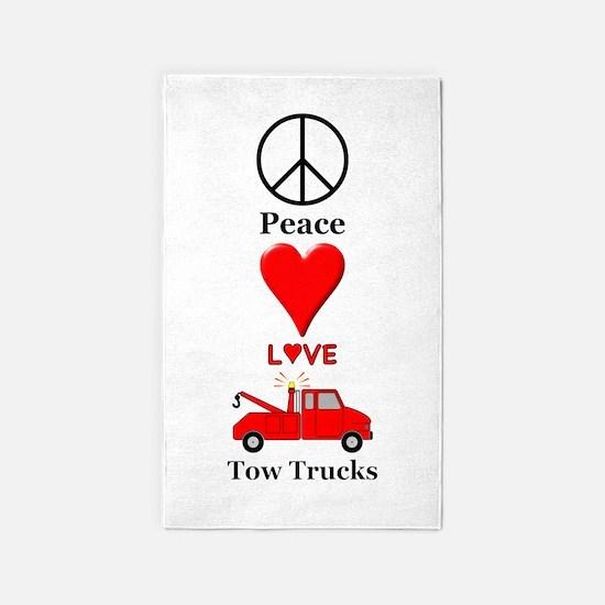 Peace Love Tow Trucks Area Rug