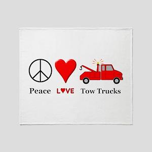 Peace Love Tow Trucks Throw Blanket