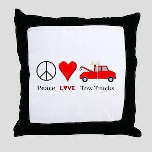 Peace Love Tow Trucks Throw Pillow
