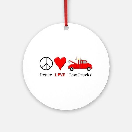 Peace Love Tow Trucks Round Ornament