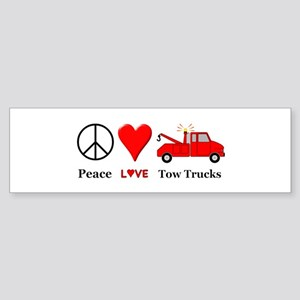 Peace Love Tow Trucks Sticker (Bumper)