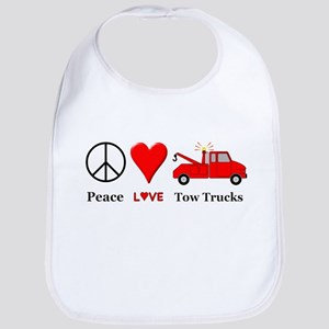 Peace Love Tow Trucks Bib