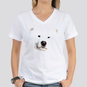 Samoyed Face Women's V-Neck T-Shirt