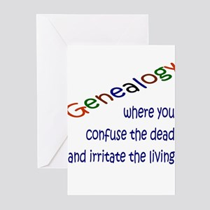 Genealogy Confusion (blue) Greeting Cards